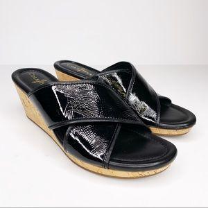 COLE HAAN Nike Air Comfort Heel Black Patent Wedge